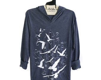 Unisex Small Hoodie - Heather Navy Pull Over Hooded Long Sleeve Top with Night Birds Screen print