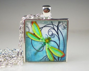 Dragonfly Necklace Blue Green Glass Photo Art Vintage Inspired Dragonfly Jewelry