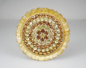 Vintage Yellow & Topaz Rhinestone Lisner Brooch Pin Jonquil Colorado Topaz Rhinestone Jewelry