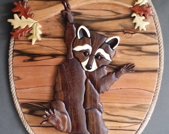 Hang in There! Raccoon Intarsia Wood Art Sculpture