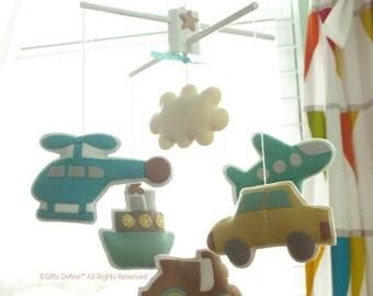 Free US Ship Musical Mobile BON VOYAGE, Cars Transportation Theme, Nursery Decor, Hanging Felt Mobile, Road, Travel, Kids Playroom Decor