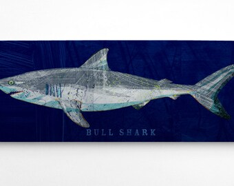Shark Decor- Bull Shark Art Block- Navy Background- Beach Theme Bedroom- Shark Nursery Signs- Fish Art on Wood- Bull Shark Print