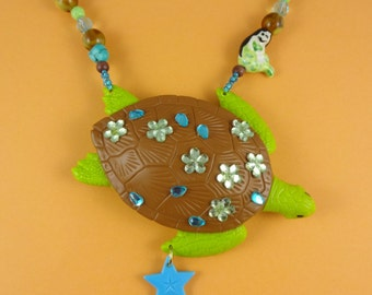 Big Turtle and Mermaid Necklace - chunky toy turtle - green turquoise brown beads - kitsch statement necklace - Harajuku Decora - cute fun!