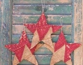 3 Rustic Star Ornaments, Primitive Stars Americana Decor Rustic Cottage Patriotic Decor Antique Quilt Stars Grungy Red White - READY TO SHIP