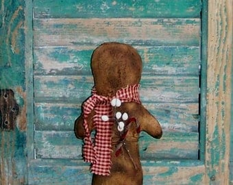 Gingerbread Doll, American Made Primitive Doll, Handmade Christmas Decor, Dark Red Homespun Scarf, White Tallow Berries