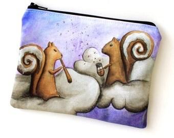 Cinnamon Squirrel - Zipper Pouch - Two Squirrels with Cinnamon Bun Tails and Cinnamon Sticks - Art by Marcia Furman