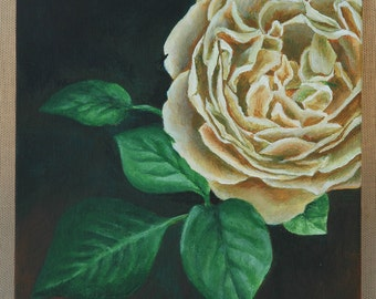 "Gold Rose Original Acrylic Painting 8"" x 10"""