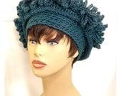 Crochet Hat Womens Hat, Womens Crochet Hat, Crochet Cloche Hat, Steampunk Hat, Antique Teal Blue Hat, LINDA Cloche Hat