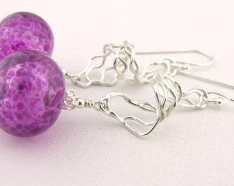 Raspberry pink hollow sterling mesh spiral earrings - handmade cserpentDesigns argentium purple