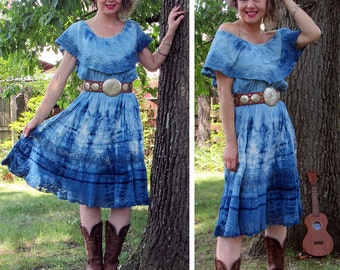 Indigo Dyed Vintage Mexican Cotton and Lace Fiesta Dress. Size Small or Medium