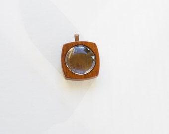 Shadow box pendant - Fine finished hardwood bezel - Mahogany - 25.5 mm - 1 Inch - (F2g-M) - Cab Included