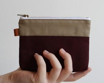 small zipper pouch -  sand grain + warm brick