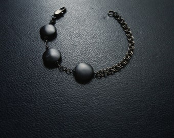 eclipse - matte black mother of pearl beaded bracelet - gothic occult festival fashion
