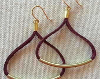 Merlot leather triangle earrings