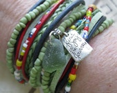 Lovely Boho Leather and Seed Bead Wrap Bracelet or Necklace, Multi Strands of Leather in shades of Green, MultiColors and Natural Leathers