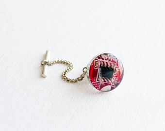 Circuit Board Tie Tack - Bright Red - Recycled Computer Jewelry - Geeky Tie Pin - Fathers Day Gift