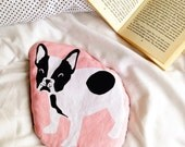 Natural Hot Water Bottle, French Bull Dog Microwavable Wheat Warmer with Lavender, Gift for Dog Lover.