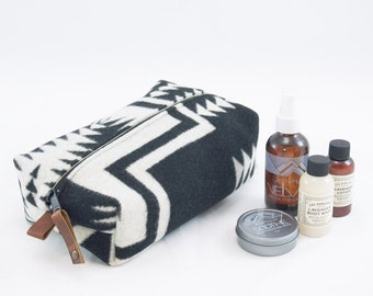 Large Dopp Bag in Black and White Wool