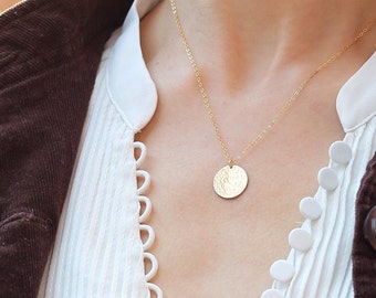 Large Initial Necklace, Personalized Circle  Necklace / Monogram Bridesmaid Jewelry, Layering Necklace, Silver Rose Gold Necklace