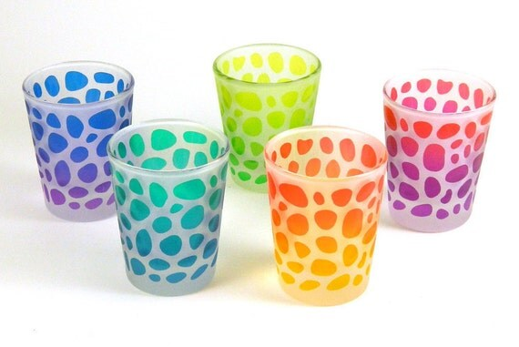 River Rocks Shot Glasses - 5 Glass Set - Frosted Style - Etched and Painted Glassware - Ready to Ship