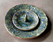 Ceramic Trinket Bowl and matching ring holder Moss green Peacock edged in gold