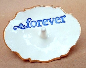 Ceramic  Forever Ring Holder  bowl Blue on OFF White edged in gold