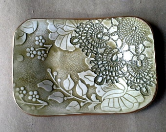 Ceramic Soap Dish Sage Green edged in gold Trinket  Dish