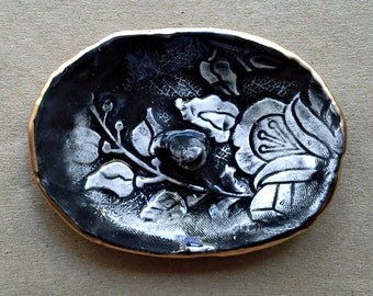 Black Damask Ceramic Ring Holder Bowl