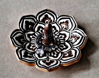 Lotus Ceramic Ring Holder Bowl Dark Brown  gold edged