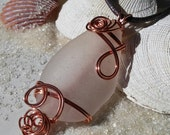 Huge Copper Wrapped White Frosty Seaglass Pendant