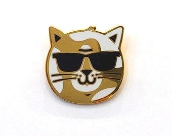 BRAT CAT enamel lapel pin