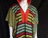 Spirit World Poncho© Red Hearts African Wax Print, Menswear, Festival Clothing, OOAK, Caftan