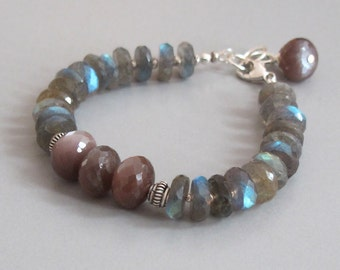 Labradorite Chocolate Moonstone Bracelet Sterling Fine Silver Spectrolite Bead DJStrang Boho Cottage Chic Color Flashing Stone