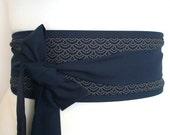 Obi belt indigo dark navy blue traditional Japanese seigaiha waves sashiko pattern fabric - kimono yukata dress robe sash with ties