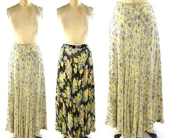 Reversible Floral Maxi Skirt / Vintage 1990s Long Indian Rayon Print Skirt / Bohemian / Boho / Hippie A-Line Skirt