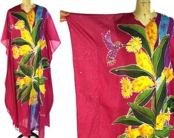 Sultana Pali Batik Caftan / Vintage 1970s Bohemian Maxi Dress with Floral & Hummingbird Print / Hippie Boho Sheer Cotton Ethnic Indian Dress