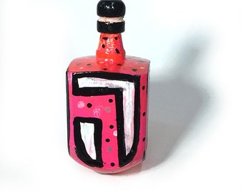 Pink Dreidel - Hand Painted Polka Dot Wood Draydel, Pink, White and Black Sevivon, Judaica, Top, Jewish, Hanukkah Dreidel, Chanukah Gift