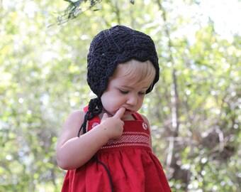 Crochet Baby Girl Bonnet in Black Cotton