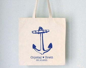 Custom Promo Tote - Anchor -  nautical artwork with names date and heart on natural bag wedding favor wedding party birthday