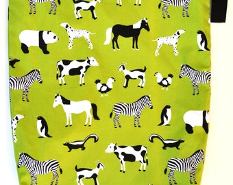 X-Large XL Wet bag 16 X 22 x 6 / Swim / Diapers / Gym /  Lime Zoo Menagerie Fabric / SEALED SEAMS and Snap Strap