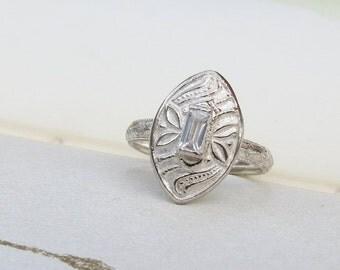 Unique Alternative Engagement Ring Vintage Style Cocktail Ring Diamond Alternative CZ Baguette Shape Gemstone Ring