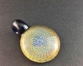Glass Pendant Bead Retti Retticello Reversing Spirals Blue Stardust Multi  --Dan Rushin