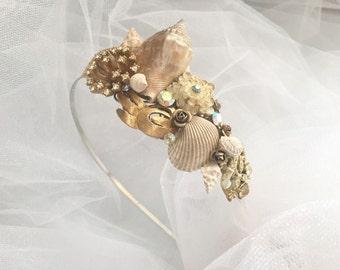 Beach Wedding No.5 - Seashell and Vintage Rhinestone and Gold Bridal Assemblage for a headband, Coastal Wedding