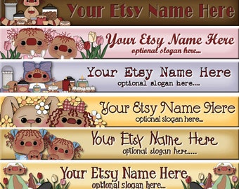 Raggedy Dreams Premade ETSY Shop Banner - SHOP ICON - Primitive Raggedy Annies Candles Floral Daisies Candles
