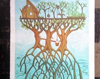Mangrove reduction print
