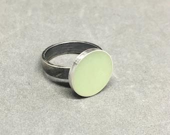 SALE! Jadite green resin ring sterling silver green resin ring resin ring jadite green