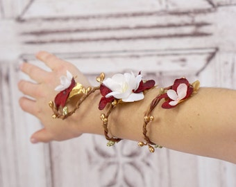Red and White Vine Cuff, Flower Wristlet, Vine Bracelet, Woodland Wrist Cuff, FLoral Wrap, Fairy Bracelet, Red, White, Gold,