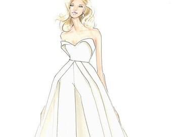 Lady Gaga-Oscars-Academy Awards-Fashion Illustration-White-Fashion Print-Gaga Fashion-Brooke Hagel-Brooklit-Gaga-White Jumpsuit-Sketch