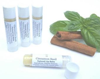 Cinnamon Basil lip balm, natural lip balm, organic oil, essential oil, no artificial colors, natural flavoring, lip care, tube lip balm