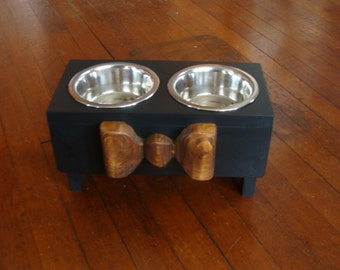 Black Dog Feeder, Bowl Holder, Pet Feeding Stand, Brown Wood Bow, Custom